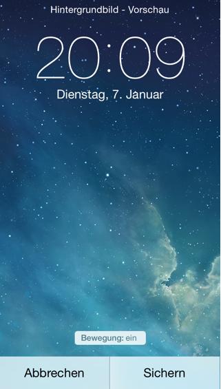 Bewegung ein Hintergrund iOS 7 Beta 3