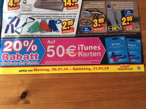 Netto iTunes Karte 6 1 2014