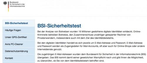 Test BSI Homepage