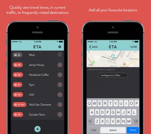 ETA - view driving times Screen1