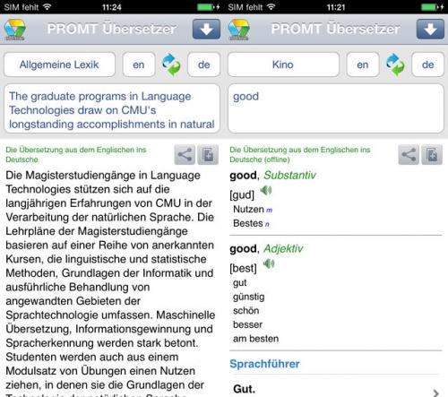 PROMT Übersetzer Screen1