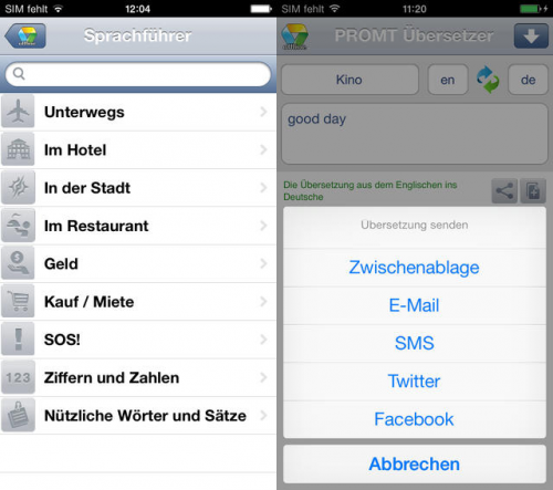 PROMT Übersetzer Screen2