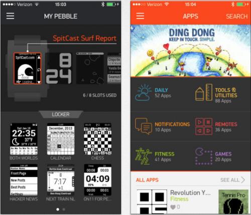Pebble Ansicht App Store