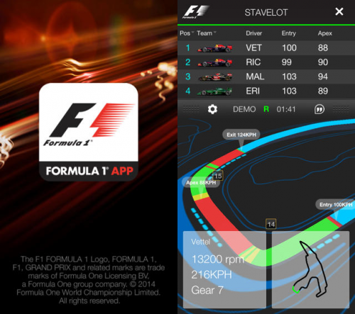 Official F1 App Screen1
