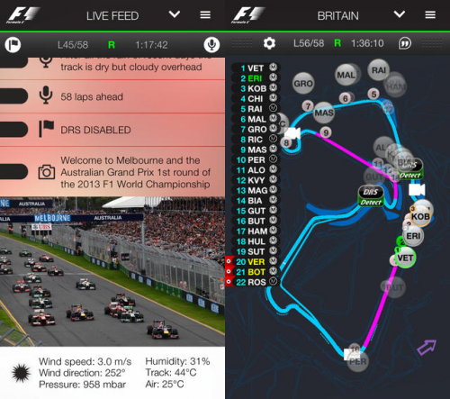 Official F1 App Screen2