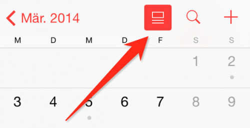iOS 7.1 List View Kalender