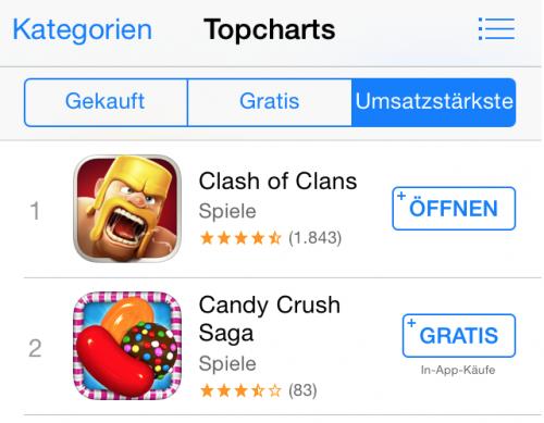 App Store iOS 7.1.1. Info In-App-Kaeufe