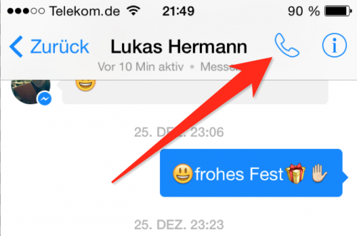 Facebook Messenger Anruf
