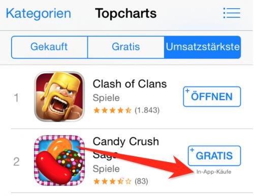 In App Kauf Anzeige iOS 7.1.1