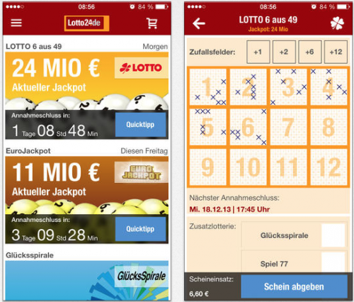 Lotto24.de iPhone Ansicht