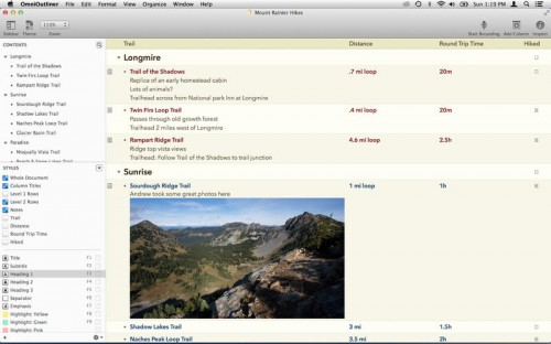OmniOutliner Pro Screen1