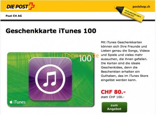 Schweizer Post iTunes Karten 30 04 2014