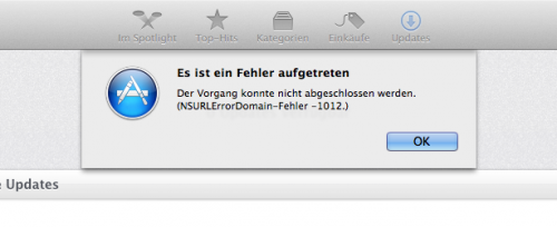Fehler Mac App Store