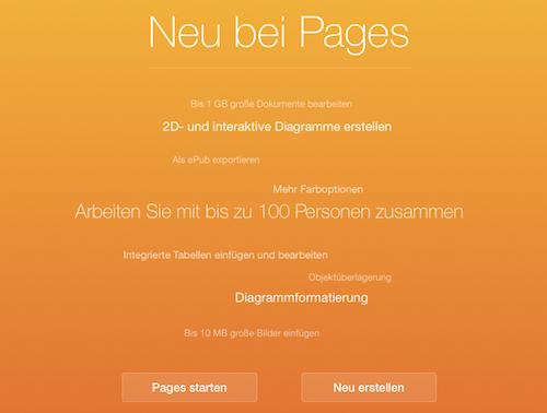 Pages iCloud.com neu