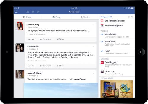 Facebook iPad neues Seitenfenster