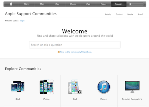 Welcome Support Apple