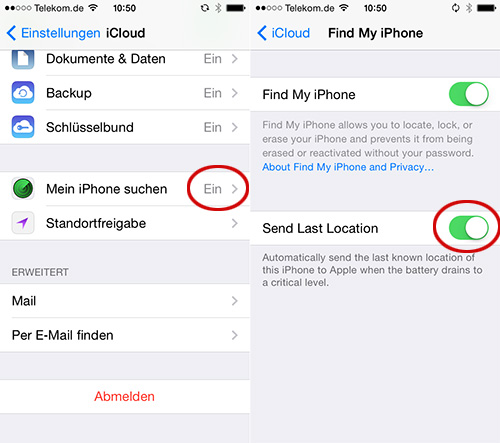 Find last location of iphone offline