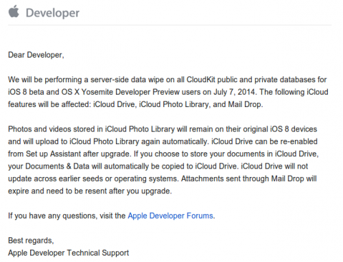 CloudKit Data Wipe Original Mail