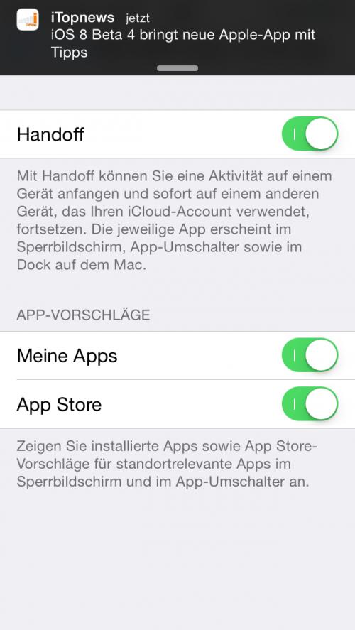Handoff u Vorschlaege on off iOS 8 Beta 4