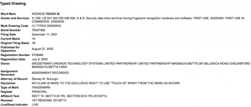 Kronos Touch ID Patent