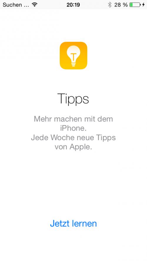 Tips App auf deutsch Startscreen iOS 8 Beta 4