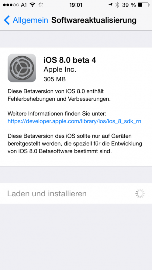 iOS 8 Beta 4 Screenshot