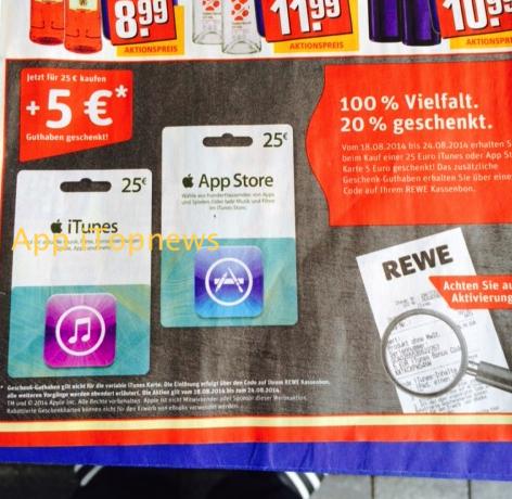 Rewe Geschenk iTunes Karten ab 18 08 2014