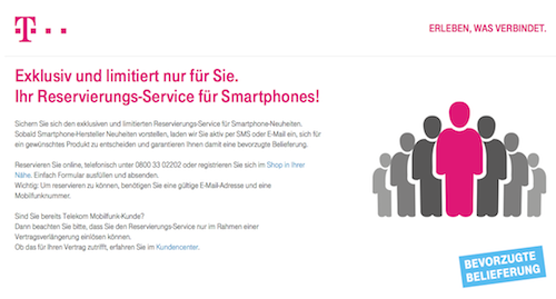 Telekom Reservierung iPhone 6