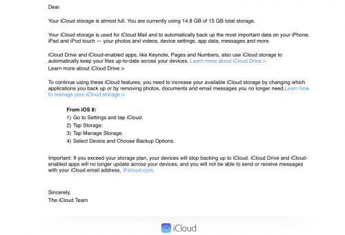 iCloud Mail iOS 8