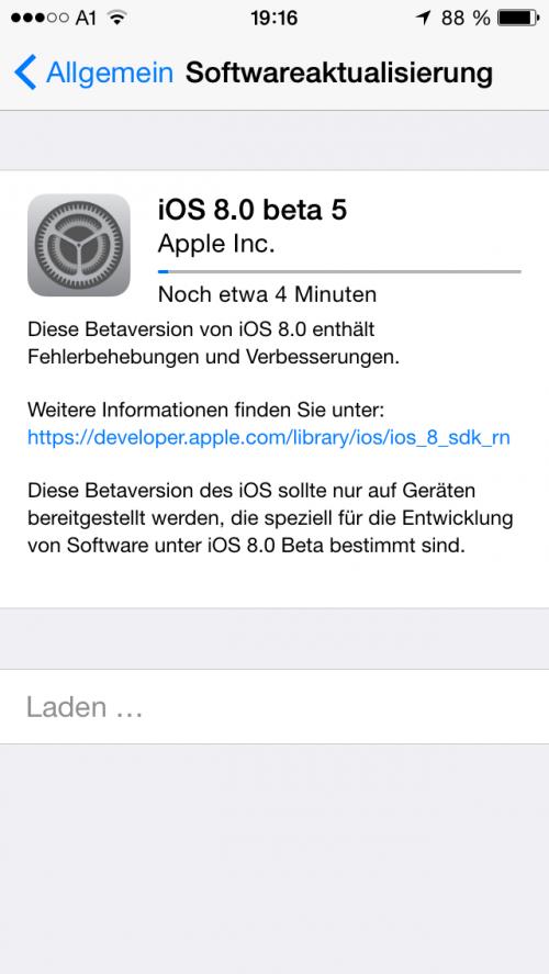 iOS 8 Beta 5 Bild
