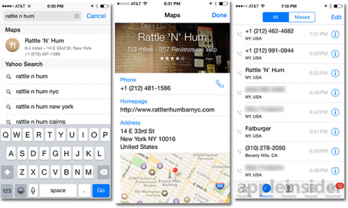 iOS 8 Maps Recents
