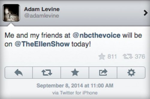 Adam Levine iPhone Tweet