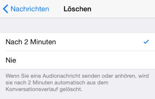 Selbstzerstoerend Nachricht iOS 8