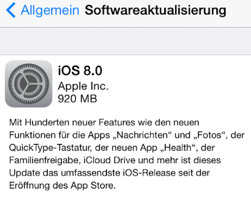iOS 8 Update Beschreibung Apple