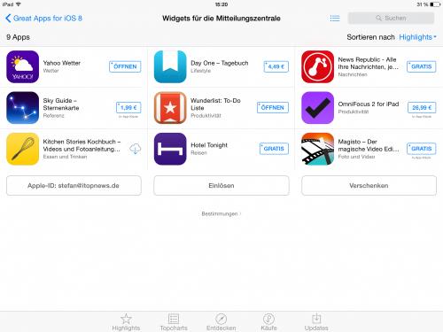 iOS 8 Widgets i mal 1 1