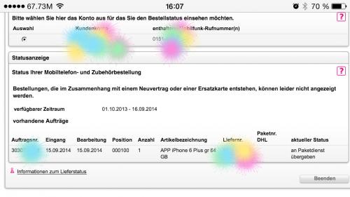 iPhone 6 Auslieferung Telekom