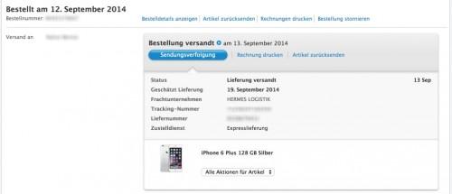 iPhone 6 Versandbestaetigung