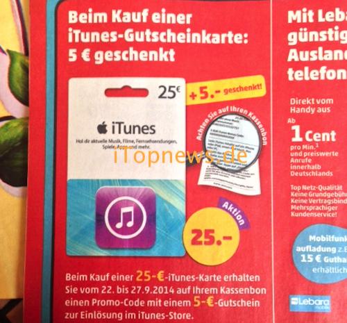 iTunes Karte 22 09 Penny
