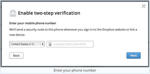 Dropbox two step