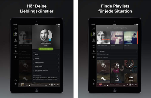 Spotify iPad schwarz