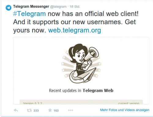 Telegram Web Update