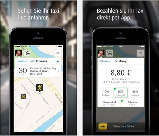 mytaxi app taxifahrten per touch id bezahlen itopnews. Black Bedroom Furniture Sets. Home Design Ideas