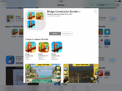 App Bundle Kein Kaufpreis