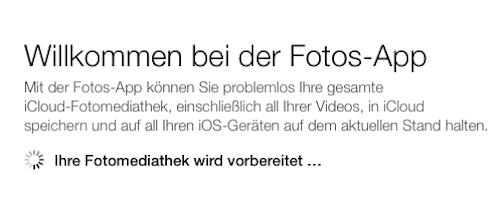 Hinweis Fotos App