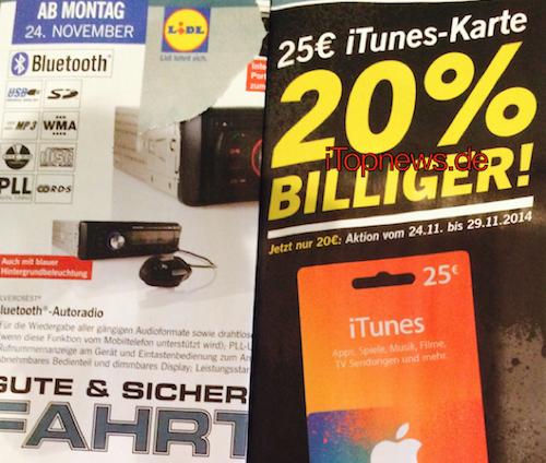 Lidl 24 11 2014 iTunes Karten Rabatt