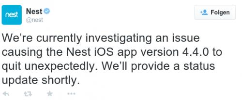 Nest App Crash Bild