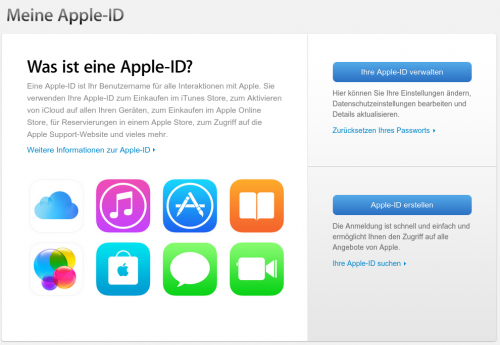 Apple ID Account Anmeldeseite