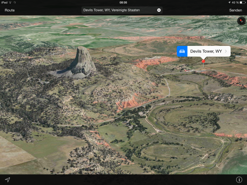 Apple Maps Devils Tower