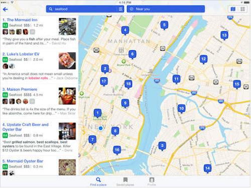 Foursquare iPad Ansicht