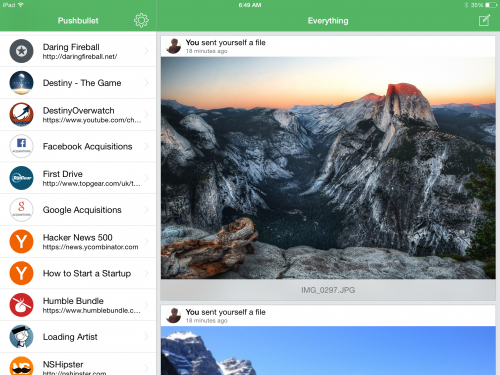 Pushbullet iPad Screen